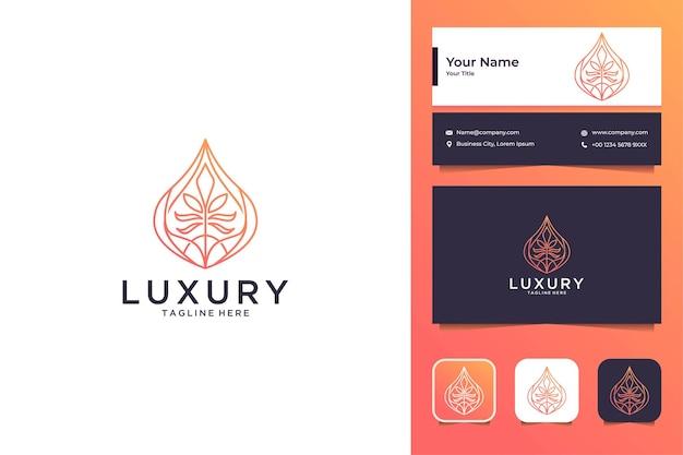 Goutte de luxe avec création de logo de feuille et carte de visite
