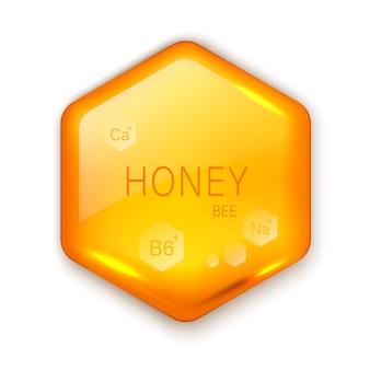 Goutte réaliste de miel hexagone