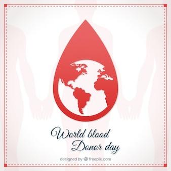 Goutte de sang avec la carte de la terre