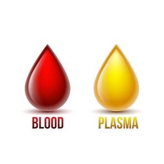 Goutte de sang et goutte de plasma sanguin. composants sanguins. illustration isolé sur fond blanc.