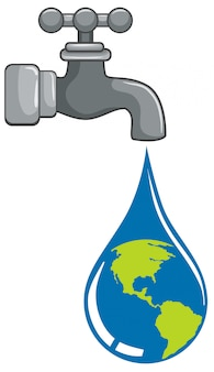 Gouttelettes du monde provenant du concept du robinet