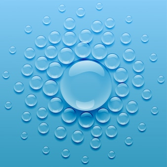 Gouttelettes d'eau sur fond bleu