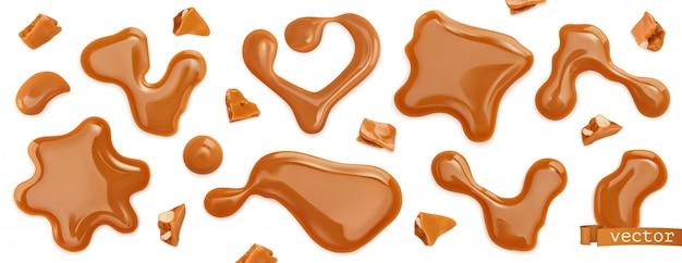 Gouttes de caramel. ensemble réaliste 3d
