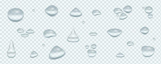 Gouttes d'eau claire pure ensemble réaliste isolé