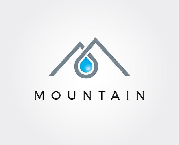 Gouttes d'eau douce dans le cadre du modèle de logo de montagnes