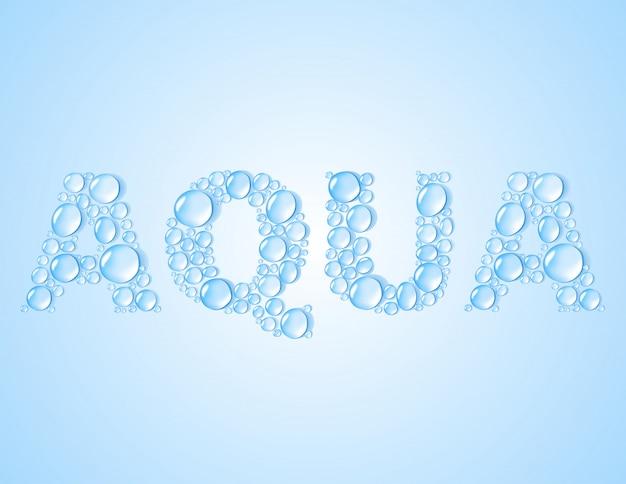 Gouttes d'eau en forme de mot aqua