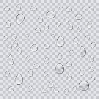 Gouttes d'eau isolés sur fond transparent.