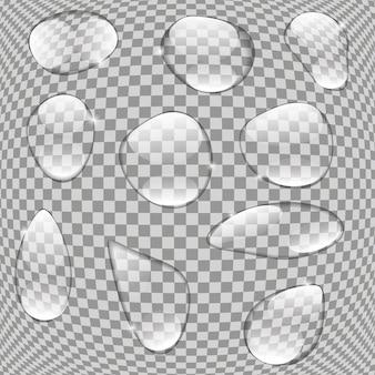 Gouttes d'eau réalistes sur fond transparent vector illustration eps10