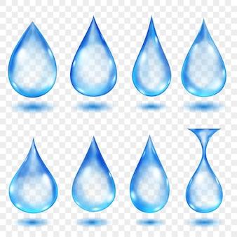 Gouttes d'eau translucides de couleurs bleues
