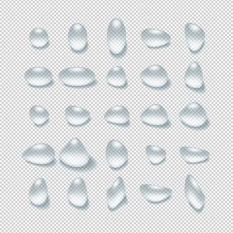 Gouttes d'eau transparentes 3d réalistes sur damier