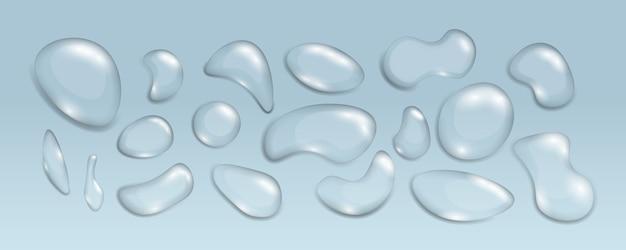Des gouttes d'eau transparentes réalistes de différentes formes. ensemble de bulles de condensation ou goutte à goutte réaliste, élément et éclaboussure humide. thème humidité et transparence. illustration,.