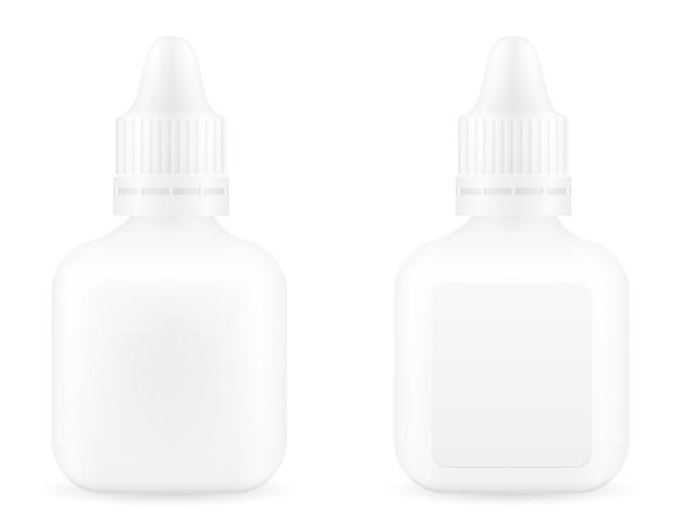 Gouttes médicales dans une bouteille en plastique pour le traitement des maladies modèle vide