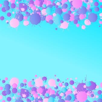 Gouttes de peinture aquarelle vecteur artistique rose, violet, bleu sur le fond turquoise. modèle de carte de voeux ou d'invitation avec place pour le texte