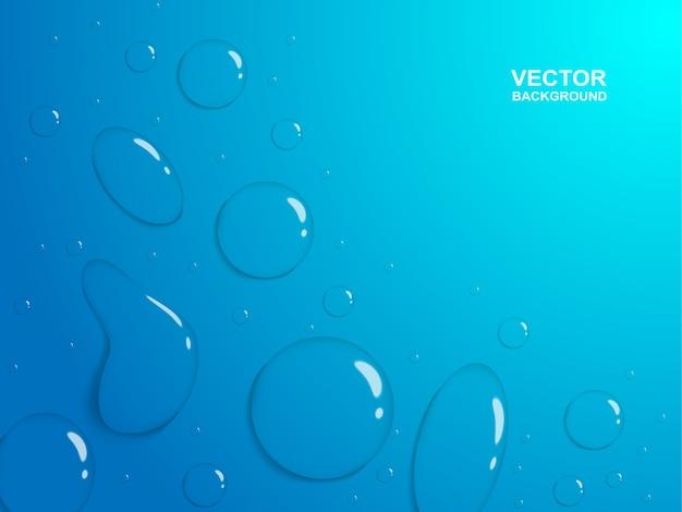 Gouttes de pluie ou auge de vapeur sur fond bleu.