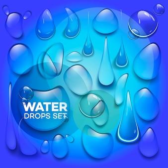 Gouttes de pluie d'eau ou douche à vapeur isolé sur fond transparent.