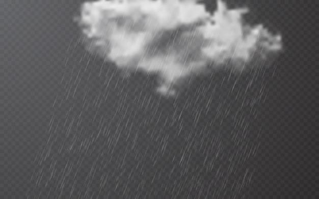Gouttes de pluie avec des nuages sur backgroun transparent