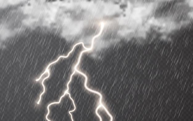 Gouttes de pluie avec des nuages et des éclairs sur fond transparent