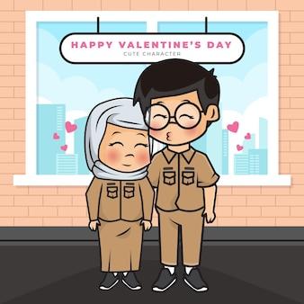 Gouverneur de couple de dessin animé mignon et bonne saint-valentin