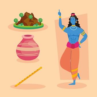 Govardhan puja quatre icônes