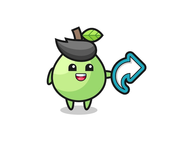La goyave mignonne tient le symbole de partage de médias sociaux, conception de style mignon pour t-shirt, autocollant, élément de logo