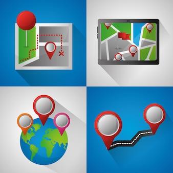 Gps application de navigation bannières monde broches cartes routes emplacement technologie écran