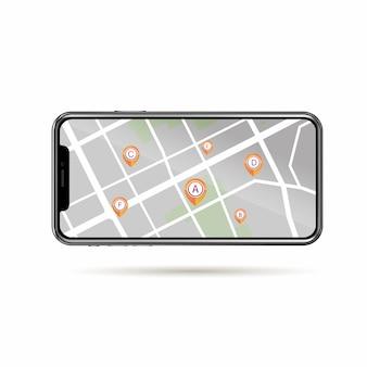 Gps, icône, point, aléatoire, dans, plan rue, sur, téléphone portable, isoler, fond blanc