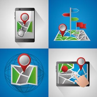 Gps navigation application bannière technologie pointé point d'arrivée emplacement cartes