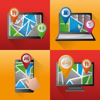 Gps navigation application bannières technologie emplacements endroits pin maps