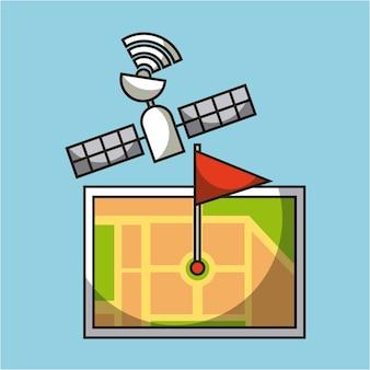 Gps navigation carte satellite broche drapeau emplacement