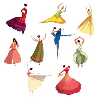 Gracieuse fille en belle robe exécutant la danse.