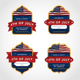 Gradient 4 juillet - collection de badges de la fête de l'indépendance