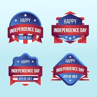 Gradient 4 juillet - collection d'étiquettes de la fête de l'indépendance
