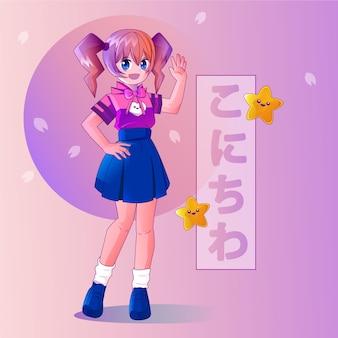gradient anime full body people salutation