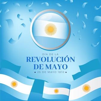 Gradient Argentin Dia De La Revolucion De Mayo Illustration Vecteur gratuit