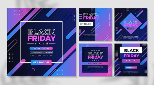 Gradient Black Friday Instagram Posts Vecteur Premium