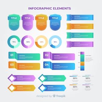 Gradient business infographics pack d'éléments