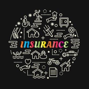 Gradient coloré d'assurance avec jeu d'icônes de ligne