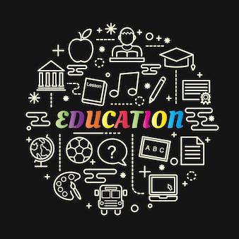 Gradient coloré de l'éducation avec jeu d'icônes de ligne