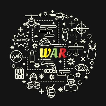 Gradient coloré de guerre avec jeu d'icônes de ligne