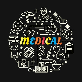 Gradient coloré médical avec jeu d'icônes de ligne