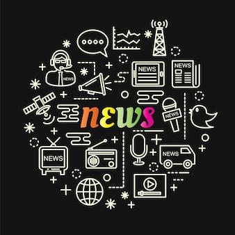 Gradient coloré de nouvelles avec jeu d'icônes de ligne
