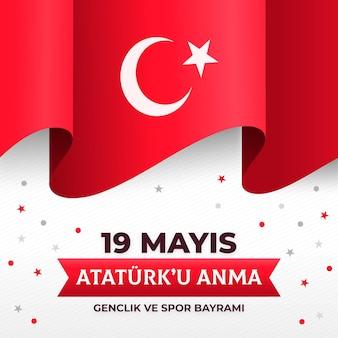 Gradient commémoration de l'ataturk, de la jeunesse et de l'illustration de la journée sportive