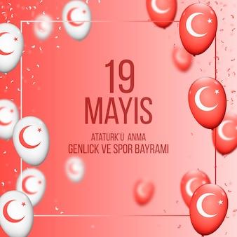 Gradient commémoration de l'ataturk, de la jeunesse et de l'illustration de la journée des sports