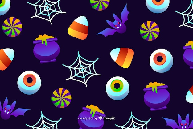 Gradient halloween elements elements