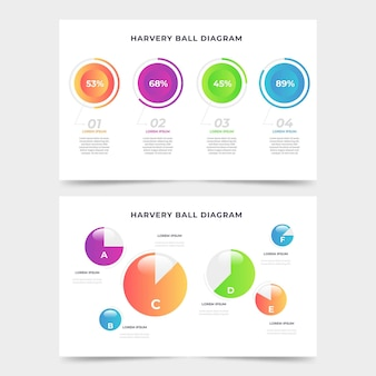 Gradient harvey ball diagramme infographique
