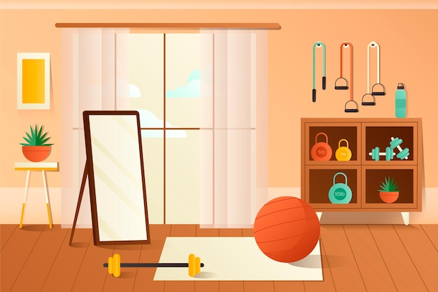 Gradient home gym illustré