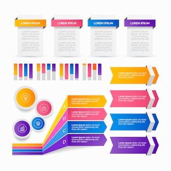 Gradient infographic elements pack