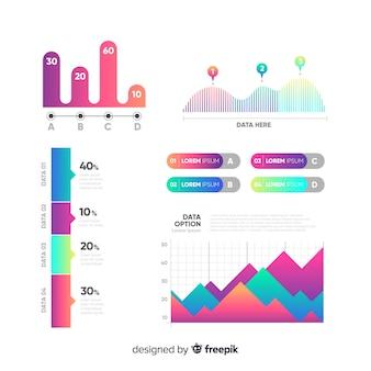 Gradient infographic elements set