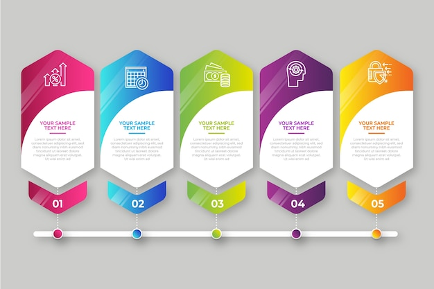 Gradient d'infographie business steps