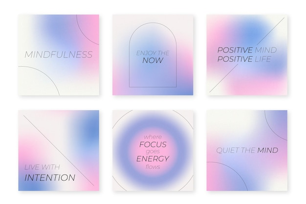 Gradient inspirational citations instagram post collection